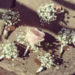 Buttonhole love blossemyorkshire weddingflowers weddinginspiration waltonhall gypsophila meijeroses groomsrock buttonhole