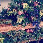 Flowers The circle of life gonebutneverforgotten lifeofaflorist wickercasket casketgarland blossemyorkshirehellip